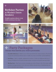 Windsor Dance Academy Birthday Party Brochure