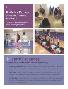 Windsor Dance Academy Birthday Party Brochure