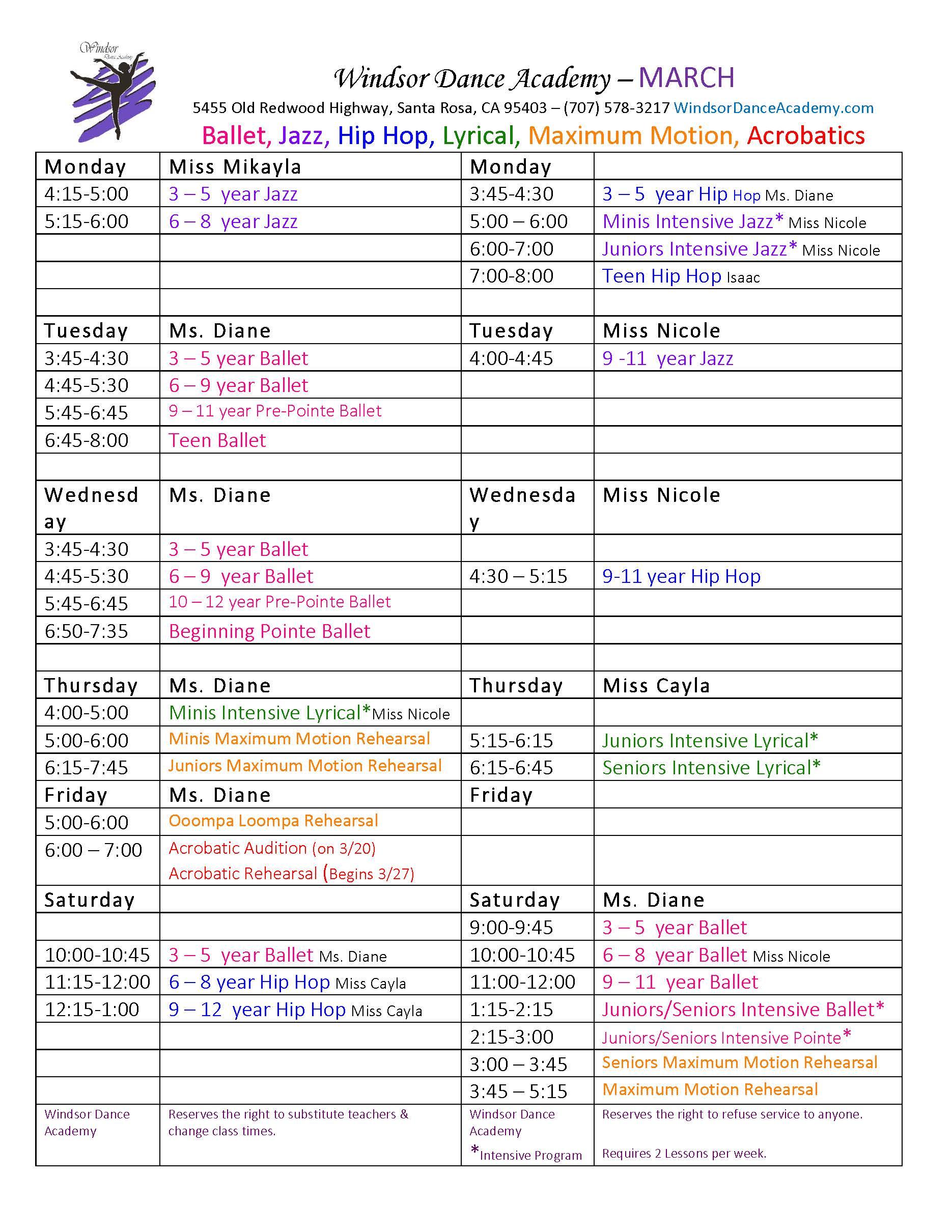 Windsor Dance Academy Schedule March 2020