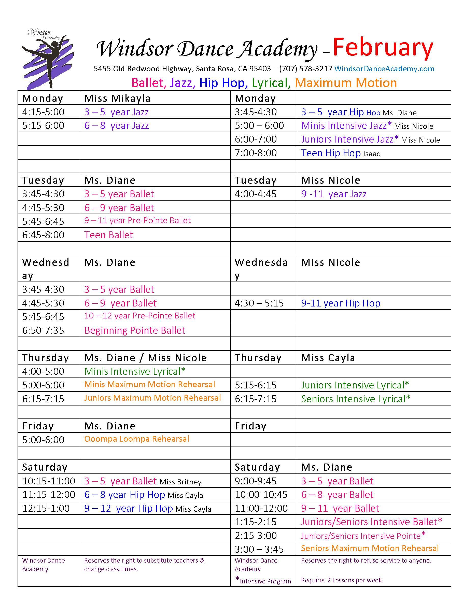 Class Schedule 2020 New